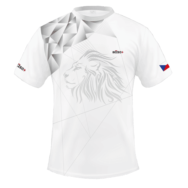 Bílý běžecký dres B+2021 a čelenka