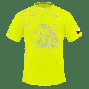 Neónově žlutý běžecký dres B+2021 a čelenka